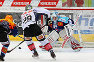 24.Feb.2012; Rapperswil-Jona; Eishockey NLA - Rapperswil-Jona Lakers - EV Zug; Stacy Roest (L, LAK), Patrick Oppliger (M, Zug) und Lukas Meili (R, LAK)<br />  (Thomas Oswald)