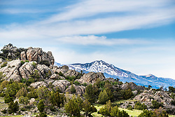 Boulders or hoodoos make and interesting accent in the Gravely range of the Madison Valley near Camron Montana