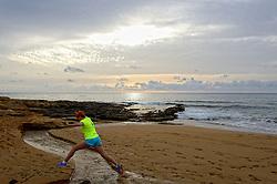 02-12-2014 CYP: We Bike 2 Change Diabetes Cyprus 2014, Pafos<br /> Vandaag de vierde etappe (86 km) van Polis naar Pafos / Zee, strand, Hardloper, Jogger, Springen