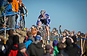 SHOT 1/12/14 3:46:14 PM - Jonathan Page (#1) of Northfield, N.H.  competes in the Men's Elite race at the 2014 USA Cycling Cyclo-Cross National Championships at Valmont Bike Park in Boulder, Co. Page finished sixth in the race. (Photo by Marc Piscotty / © 2014)