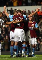 Photo: Mark Stephenson/Sportsbeat Images.<br /> Aston Villa v Tottenham Hotspur. The FA Barclays Premiership. 01/01/2008.Villa's Olof Mellberg celebrates his goal with team mates for 1-0 in the first half