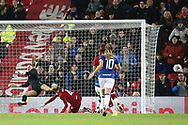 Liverpool women midfielder Rhiannon Roberts (4) clears for the corner during the FA Women's Super League match between Liverpool Women and Everton Women at Anfield, Liverpool, England on 17 November 2019.