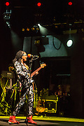 "Esperanza Spalding on stage at Celebrate Brooklyn. Her set list was from her new series ""Emily's D+Evolution."""