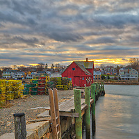 Massachusetts photo of the iconic red fishing shack Motif Number One in Rockport, MA on Cape Ann.<br />