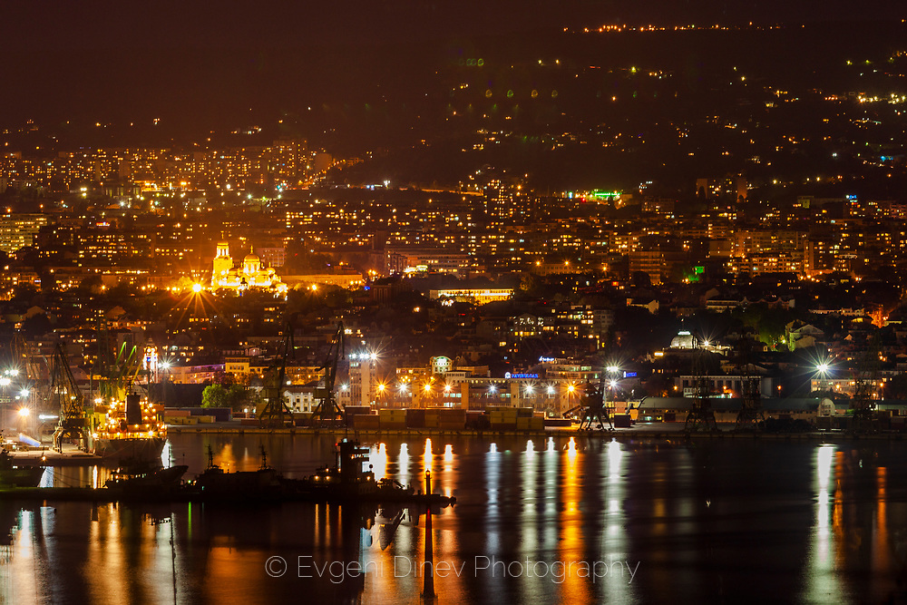 Night view of Varna from Galata
