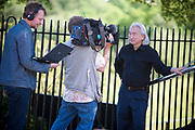 """Michio Kaku, presenter of """"Physics of the impossible at The Greenwich Obsevatory, London, UK. L - R Fred Hepburn, Steve Bowers and Michio"""