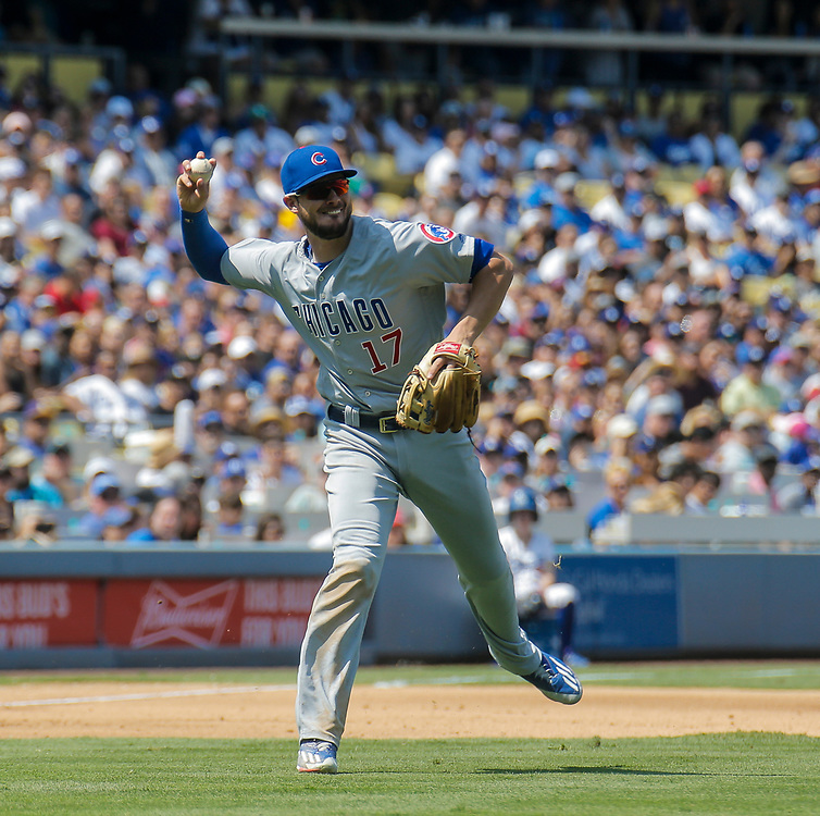 Aug 27 2016 - Los Angeles U.S. CA - Chicago Cubs 3rd base # 17 Kris Bryant make an infield play during MLB game between LA Dodgers and the Chicago Cubs 3-2 lost at Dodgers Stadium Los Angeles Calif. Thurman James / CSM