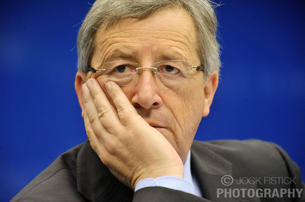 Jean-Claude Juncker, Luxembourg's prime minister and president of Euro Group, listens during a news conference, following the monthly Euro Group meeting in Brussels, Belgium, Monday, Feb. 9, 2009.  (Photo © Jock Fistick)