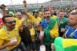 Brazil fans show their support ahead of the FIFA World Cup Group E match at Saint Petersburg Stadium, Russia.