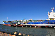 Israel, Haifa, Kishon Harbour. Oil Tanker supplies crude oil to the refinery