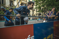 April 30, 2018 - Barcelona, Catalonia, Spain - FC Barcelona defender PIQUE during the FC Barcelona's open top bus victory parade after winning the LaLiga with their eighth double in the club history (Credit Image: © Matthias Oesterle via ZUMA Wire)