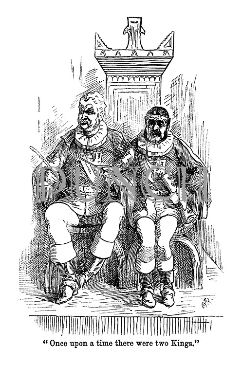 """""""Once upon a time there were two Kings."""" (a Victorian cartoon shows Gilbert and Sullivan dressed as the Gondoliers in their musical)"""