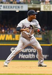 May 8, 2018 - Milwaukee, WI, U.S. - MILWAUKEE, WI - MAY 08: Cleveland Indians Third base Jose Ramirez (11) throws to 1st during a MLB game between the Milwaukee Brewers and Cleveland Indians on May 8, 2018 at Miller Park in Milwaukee, WI. The Brewers defeated the Indians 3-2.(Photo by Nick Wosika/Icon Sportswire) (Credit Image: © Nick Wosika/Icon SMI via ZUMA Press)