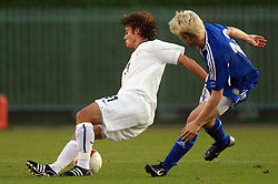 Damjan Trifkovic of Slovenia and Joni Aho of Finland during the Qualifications for UEFA U-21 EC 2009 soccer match between Slovenia and Finland at Velenje stadion At lake, on September 9,2008, in Velenje, Slovenia.  (Photo by Vid Ponikvar / Sportal Images)