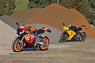 2009 Repsol Honda CBR1000 RR & 2008 Honda CBR1000RR Fireblade - Pearl Yellow.Upper Plenty, Victoria, Australia.24th of October 2009.(C) Joel Strickland Photographics.Use information: This image is intended for Editorial use only (e.g. news or commentary, print or electronic). Any commercial or promotional use requires additional clearance.