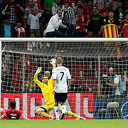 Turkey's Hakan BALTA (L) goal during their UEFA EURO 2012 Qualifying round Group A matchday 19 soccer match Turkey betwen Germany at TT Arena in Istanbul October 7, 2011. Photo by TURKPIX
