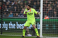 Julian Speroni, the goalkeeper of Crystal Palace lines up his defensive wall. Premier league match, Swansea city v Crystal Palace at the Liberty Stadium in Swansea, South Wales on Saturday 23rd December 2017.<br /> pic by  Andrew Orchard, Andrew Orchard sports photography.