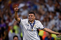 Casemiro of Real Madrid celebrates the winning of the Champions League during the UEFA Champions League Final match between Real Madrid and Juventus at the National Stadium of Wales, Cardiff, Wales on 3 June 2017. Photo by Giuseppe Maffia.<br /> <br /> Giuseppe Maffia/UK Sports Pics Ltd/Alterphotos