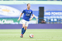 LEICESTER, ENGLAND - JULY 04: Jonny Evans of Leicester City looks for an option during the Premier League match between Leicester City and Crystal Palace at The King Power Stadium on July 4, 2020 in Leicester, United Kingdom. Football Stadiums around Europe remain empty due to the Coronavirus Pandemic as Government social distancing laws prohibit fans inside venues resulting in all fixtures being played behind closed doors. (Photo by MB Media)