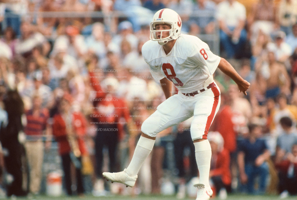 COLLEGE FOOTBALL:  Stanford vs Purdue on September 12, 1981 at Ross-Ade Stadium in Bloomington, Indiana.  Mark Harmon #8.  Photograph by David Madison ( www.davidmadison.com ).