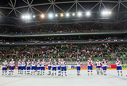 Players of Slovenia celebrate after the ice-hockey match between Slovenia and Japan at IIHF World Championship DIV. I Group A Slovenia 2012, on April 16, 2012 in Arena Stozice, Ljubljana, Slovenia. Slovenia defeated Japan 4-2. (Photo by Vid Ponikvar / Sportida.com)