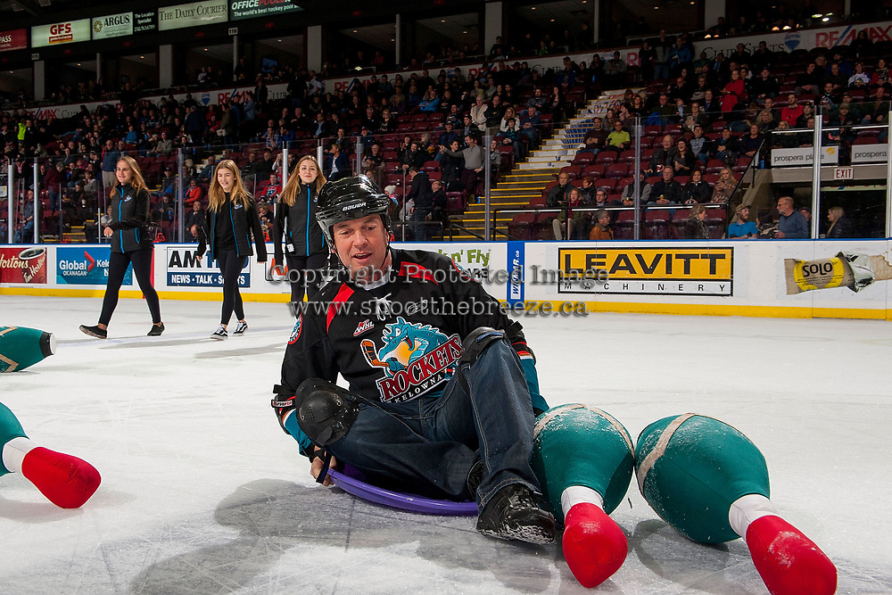 KELOWNA, CANADA - JANUARY 3: A fan gets a strike during intermission human bowling at the Kelowna Rockets against the Tri-City Americans on January 3, 2017 at Prospera Place in Kelowna, British Columbia, Canada.  (Photo by Marissa Baecker/Shoot the Breeze)  *** Local Caption ***