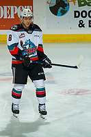 KELOWNA, BC - JANUARY 3:  Trevor Wong #8 of the Kelowna Rockets warms up on the ice against the Victoria Royals at Prospera Place on January 3, 2020 in Kelowna, Canada. (Photo by Marissa Baecker/Shoot the Breeze)