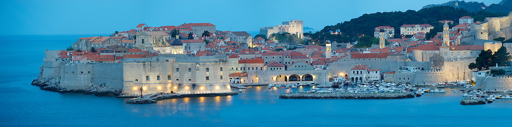 Stock photos of Nightime Dubrovnik Port with St John's Fort - Croatia .<br /> <br /> Visit our MEDIEVAL PHOTO COLLECTIONS for more   photos  to download or buy as prints https://funkystock.photoshelter.com/gallery-collection/Medieval-Middle-Ages-Historic-Places-Arcaeological-Sites-Pictures-Images-of/C0000B5ZA54_WD0s