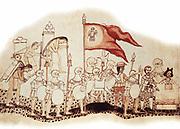 Hernandez Cortes (Cortez - 1485-1547) Spanish conquistador (Mexico). Cortes arriving in Mexico followed by his black servant and preceded by La Malinche, his interpreter and mistress. 16th century, Bibliotheque Nationale, Paris.