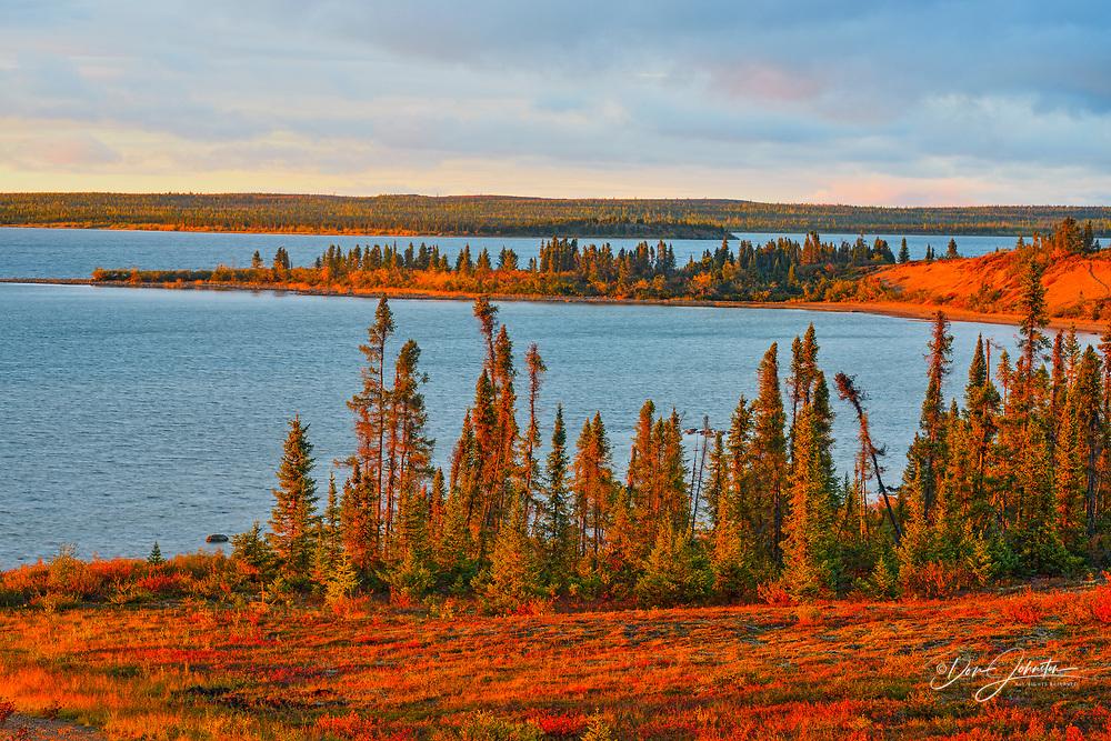 Evening light on terrain overlooking Ennadai Lake, Arctic Haven Lodge, Nunavut, Canada
