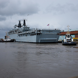 LIVERPOOL, UK, 23rd May, 2013. Royal Navy vessel HMS Bulwark arrives at Langton Dock, Liverpool, UK, as part of the Battle of the Atlantic 70th anniversary celebration weekend. A fleet of 21  Royal Naval vessels will visit over the weekend.