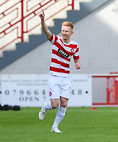 04/04/15 SCOTTIAH PREMIERSHIP<br /> HAMILTON v ST JOHNSTONE<br /> NEW DOUGLAS PARK - HAMILTON<br /> Hamilton's Ali Crawford celebrates after putting his side 1-0 up.