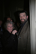 Maggi Hambling and Oscar graves-Johnstone. Annabel Freyberg and Andrew Barrow drinks party. The Royal Geographical Society. 5 January 2006. ONE TIME USE ONLY - DO NOT ARCHIVE  © Copyright Photograph by Dafydd Jones 66 Stockwell Park Rd. London SW9 0DA Tel 020 7733 0108 www.dafjones.com