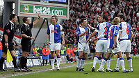 Photo: Paul Thomas.<br /> Blackburn Rovers v Liverpool. The Barclays Premiership. 16/04/2006.<br /> <br /> The Blackburn voice their disappiontment towards referee Mr A Wiley and the linesman after they award a goal to Liverpool. The Blackburn team claim Robbie Fowler was offside.