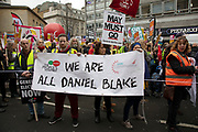 Britain is Broken - General Election Now demonstration against Tory cuts and austerity on 12th January 2019 in London, United Kingdom. Irrespective of which way people voted in the EU referendum, this protest was calling for an end to austerity and homelessness, the nationalisation of rail and other utilities, and ultimately, for a general election to end the Tories power. We are all Daniel Blake banner.
