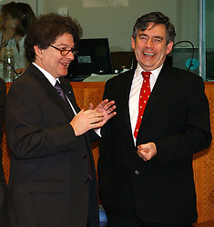 BRUSSELS, BELGIUM - MARCH-07-2005 - Thierry Breton, France's Finance Minister left, and Gordon Brown, UK's Finance Minister share a laugh during ECOFIN, the meeting of all the EU Finance and Economic Ministers, Monday, March 7, 2005, in Brussels, Belgium. (Photo © Jock Fistick)