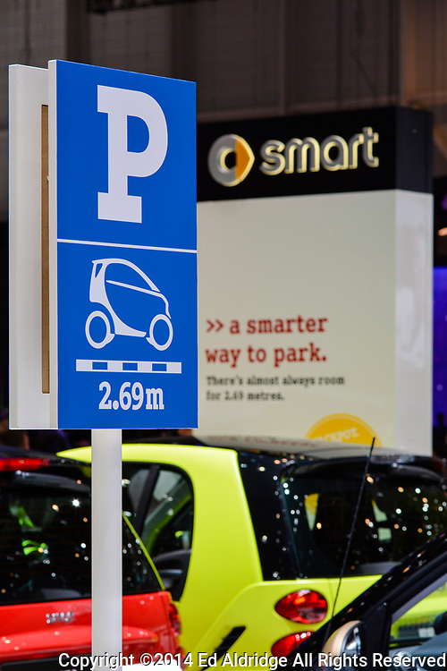 GENEVA, SWITZERLAND - MARCH 4, 2014: Smart car parking sign was a nice touch for the Smart car display at the Geneva Motor Show.
