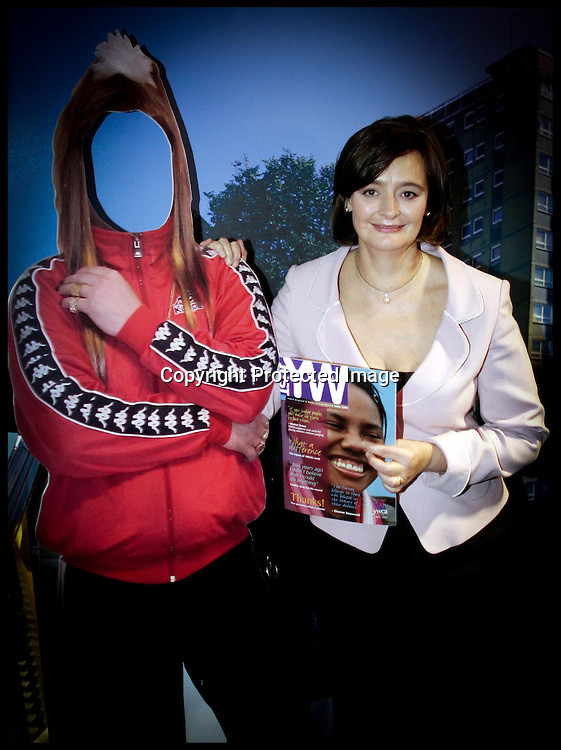 Cherie Blair stands with a cut out of  Vicky Pollard (check Spelling) a Little Britain character as she  tours around the stands of the Labour Party Conference ,Monday 26th September 2005PRESS ASSOCIATION Photo. Photo Credit should read:Andrew Parsons/PA
