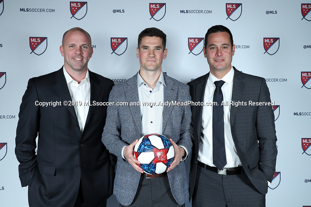 CHICAGO, IL - JANUARY 11: Sam Brown was taken with the seventeenth overall pick by Real Salt Lake. With general manager Craig Waibel (left) and head coach Mike Petke (right). The MLS SuperDraft 2019 presented by adidas was held on January 11, 2019 at McCormick Place in Chicago, IL.