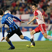 HARRISON, NEW JERSEY- November 06:  Sacha Kljestan #16 of New York Red Bulls is challenged by Ignacio Piatti #10 of Montreal Impact in action during the New York Red Bulls Vs Montreal Impact MLS playoff match at Red Bull Arena, Harrison, New Jersey on November 06, 2016 in Harrison, New Jersey. (Photo by Tim Clayton/Corbis via Getty Images)