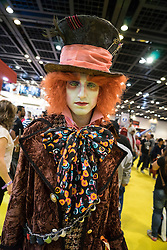 Dubai, April 4th 2014; Fan dressed as Willy Wonka at the 2014 Middle East Film and Comic Con at World Trade Centre in Dubai United Arab Emirates