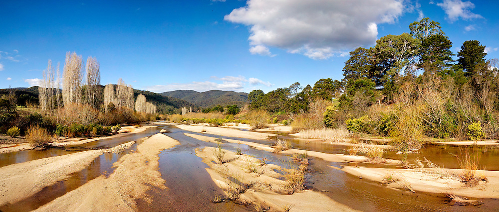 Panorama of a partly dry Towamba River, Towamba, New South Wales, Australia