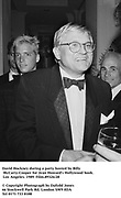 David Hockney during a party hosted by Billy McCarty-Cooper for Jean Howard's Hollywood book. Los Angeles. 1989. Film.89324/28<br /><br />© Copyright Photograph by Dafydd Jones<br />66 Stockwell Park Rd. London SW9 0DA<br />Tel 0171 733 0108