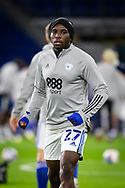 Cardiff City's Sheyi Ojo (27) during the pre-match warm-up at the EFL Sky Bet Championship match between Cardiff City and Birmingham City at the Cardiff City Stadium, Cardiff, Wales on 16 December 2020.