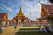 """03 FEBRUARY 2013 - PHNOM PENH, CAMBODIA: The crematorium built for former Cambodian King Norodom Sihanouk at the National Museum in Phnom Penh. Norodom Sihanouk (31 October 1922- 15 October 2012) was the King of Cambodia from 1941 to 1955 and again from 1993 to 2004. He was the effective ruler of Cambodia from 1953 to 1970. After his second abdication in 2004, he was given the honorific of """"The King-Father of Cambodia."""" He served as puppet head of state for the Khmer Rouge government in 1975-1976, before going into exile. Sihanouk's actual period of effective rule over Cambodia was from 9 November 1953, when Cambodia gained its independence from France, until 18 March 1970, when General Lon Nol and the National Assembly deposed him. Upon his final abdication in 2004, the Cambodian throne council appointed Norodom Sihamoni, one of Sihanouk's sons, as the new king. Sihanouk died in Beijing, China, where he was receiving medical care, on Oct. 15, 2012. His cremation will take place on Feb. 4, 2013. Over a million people are expected to attend the service.     PHOTO BY JACK KURTZ"""