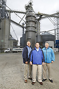 SHOT 10/29/18 9:46:49 AM - Sunrise Cooperative is a leading agricultural and energy cooperative based in Fremont, Ohio with members spanning from the Ohio River to Lake Erie. Sunrise is 100-percent farmer-owned and was formed through the merger of Trupointe Cooperative and Sunrise Cooperative on September 1, 2016. Photographed at the Clyde, Ohio grain elevator was George D. Secor President / CEO and John Lowry<br /> Chairman of the Board of Directors with  CoBank RM Gary Weidenborner. (Photo by Marc Piscotty © 2018)