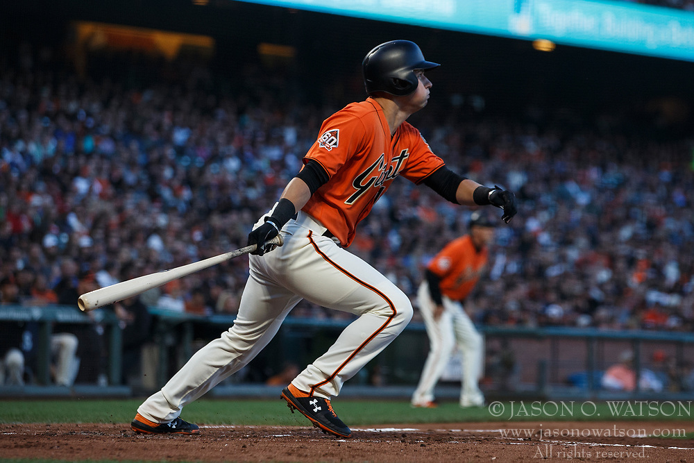 SAN FRANCISCO, CA - JULY 06: Joe Panik #12 of the San Francisco Giants at bat against the St. Louis Cardinals during the second inning at AT&T Park on July 6, 2018 in San Francisco, California. The San Francisco Giants defeated the St. Louis Cardinals 3-2. (Photo by Jason O. Watson/Getty Images) *** Local Caption *** Joe Panik