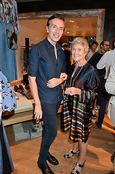 JOSEPH VELOSA and JOAN BURSTEIN at a party to celebrate the launch of Matthew Williamson: Fashion, Print and Colouring Book held at Anthropologie, 158 Regent Street, London on 8th September 2016.