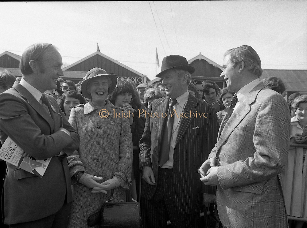 Irish Distillers Grand National at Fairyhouse.  (M66)..1979..16.04.1979..04.16.1979..16th April 1979..The Irish Distillers Grand National was run today at Fairyhouse Racecourse, Co Meath.The race over 3.5miles is valued at £20,000. the winning trainer will also receive the Tom Dreaper,Perpetual Trophy which will be presented by Mrs Betty Dreaper..Picture shows Minister for Foreign Affairs, Mr Michael O'Kennedy, Mrs Betty Dreaper, Mr Norman Colfer,Manager/Sec, Fairyhouse Racecourse and Mr Des Heather.