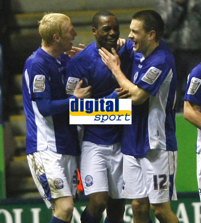 Photo: Steve Bond/Richard Lane Photography. Leicester City v Swansea City. FA Cup Third Round. 02/01/2010. Dany N'Guessan is congratulated